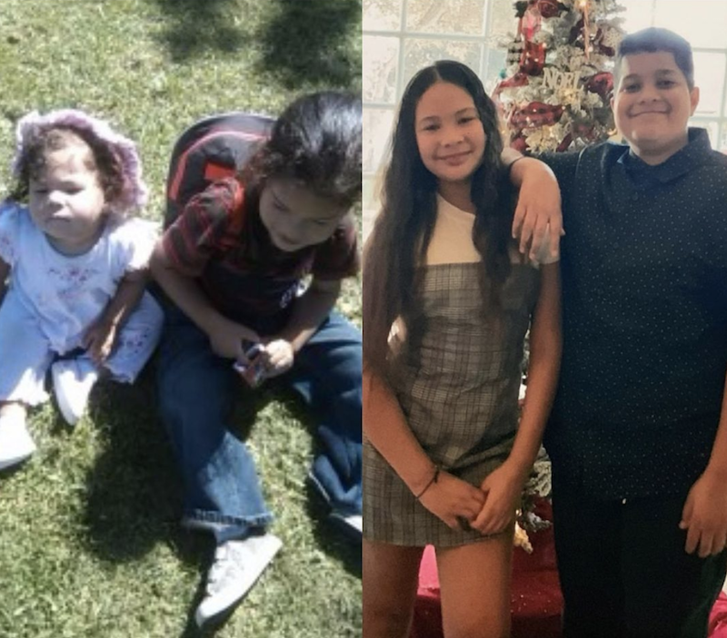 These two photos are before and after pictures of brother and sister who attended The Learning Box Child Enrichment Center.