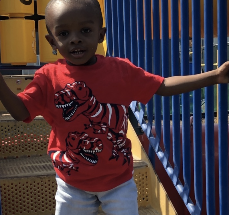 A little boy is wearing a red dinosaur t-shirt, holding onto the rails, and walking down the stairs at the jungle gym.