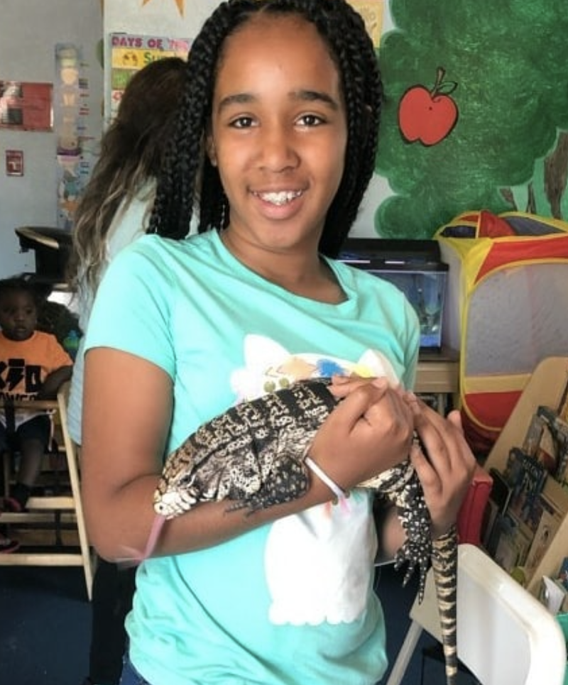 A girl with braids in her hair is holding a reptile, a pet of The Learning Center.