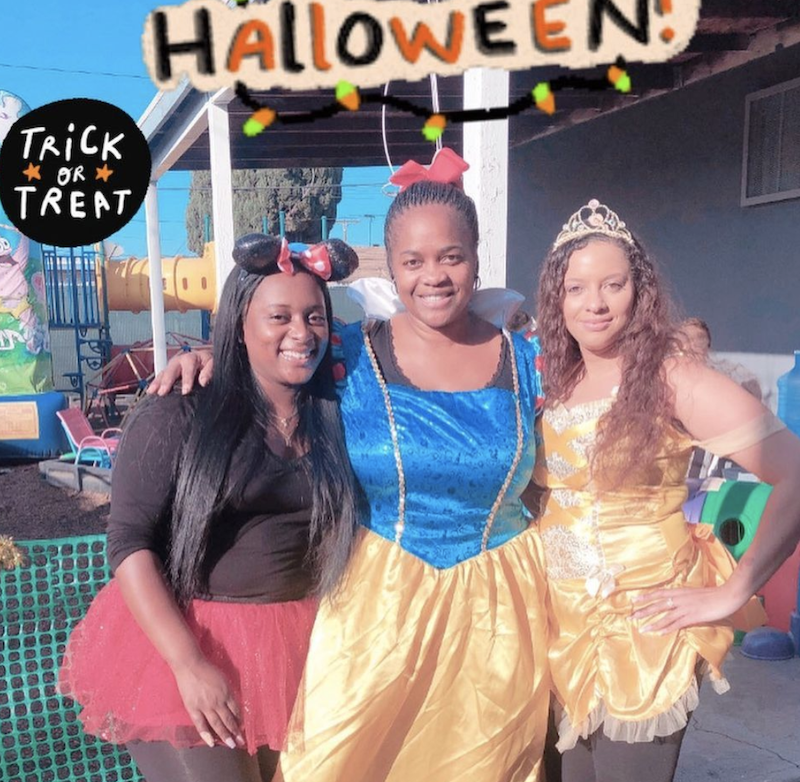 Ms. Tee is dressed up at Snow White for Halloween with two other teachers.