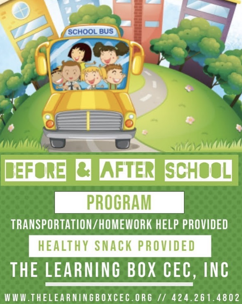 Flyer from The Learning Box announcing before and after school programs.