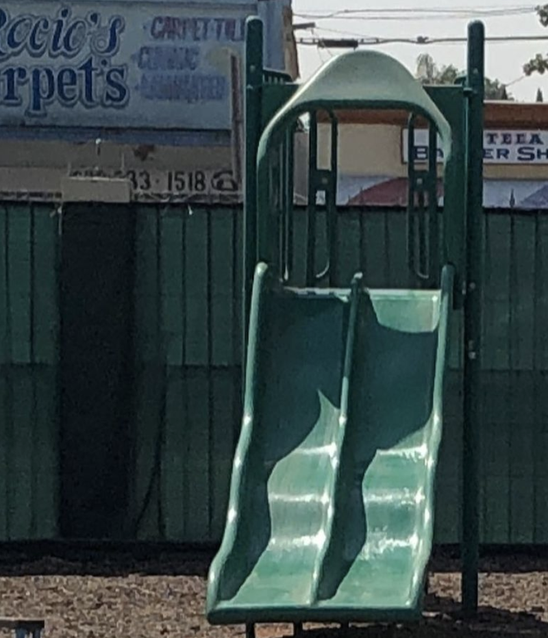 Picture of the slide at The Learning Box Center playground.