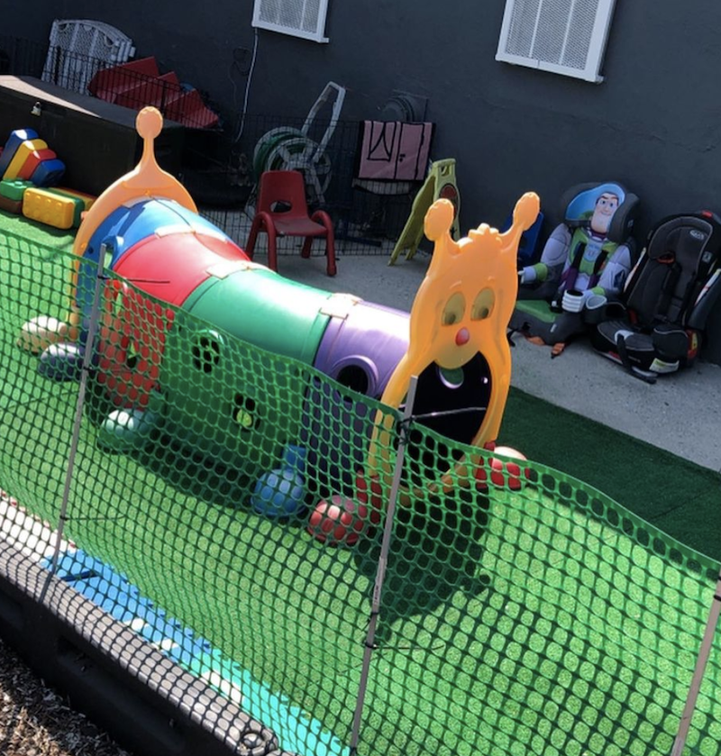 The kids have fun playing in this Climb-N-Crawl Caterpillar outdoor play structure.