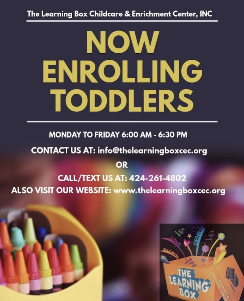 Flyer with The Learning Box logo calling for new toddlers to enroll.